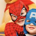 Children wearing superhero costumes